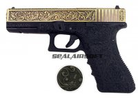 WE G17 Classic Floral Pattern GBB Pistol (Bronze Version)