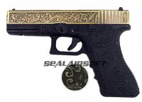 WE G17 Classic Floral Pattern GBB Pistol (Ivory Version)