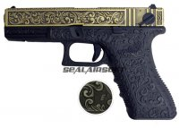 WE G18C Classic Floral Pattern GBB Pistol (Ivory Version)